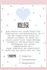 Postkarte KOLLEGE inkl. Briefumschlag Kollege Geschenk Definition Kollege