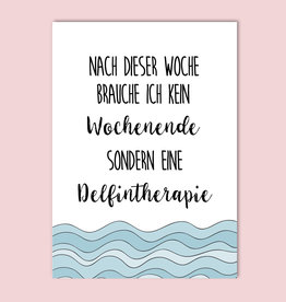 Postkarte lustig Delfintherapie
