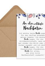 Postkarte weltbeste Nachbarin inkl. Briefumschlag Danke Karte Nachbar Geschenk
