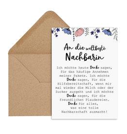 Postkarte weltbeste Nachbarin inkl. Briefumschlag