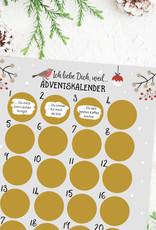 Adventskalender zum Rubbeln Ich liebe dich GRAU A3 Weihnachtskalender