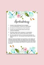 Hochzeitsspiel 12 Monate Jahresspiel FLOWERS 12 Postkarten zum Rubbeln