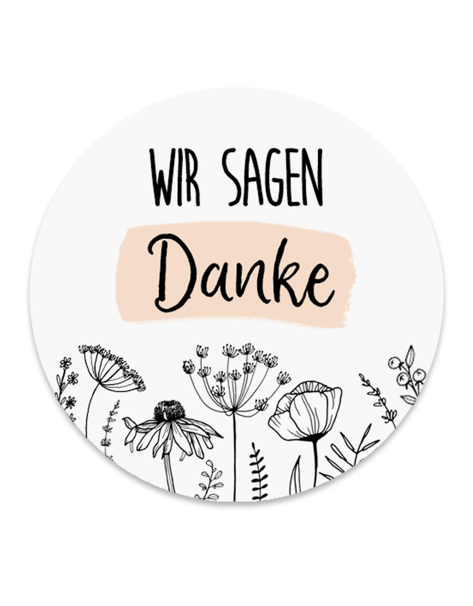 50 Sticker Danke FLOWERS