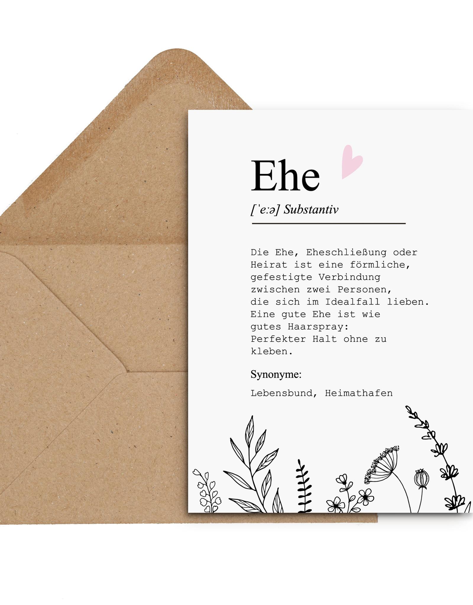 Glückwunschkarte Hochzeit EHE Definition Karte Hochzeit Grußkarte Hochzeit Geschenk