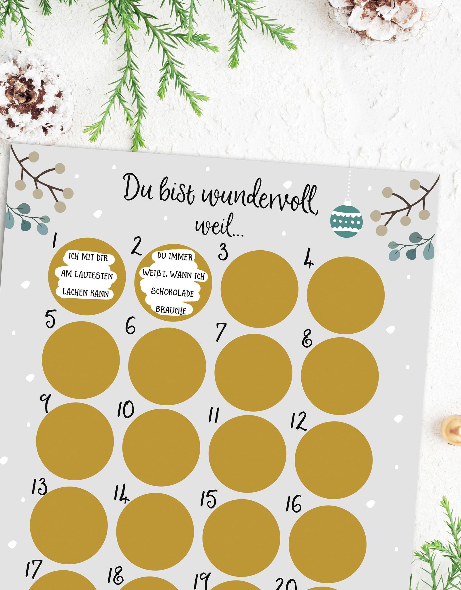Adventskalender zum Rubbeln DU BIST WUNDERVOLL Adventskalender für Freundinnen