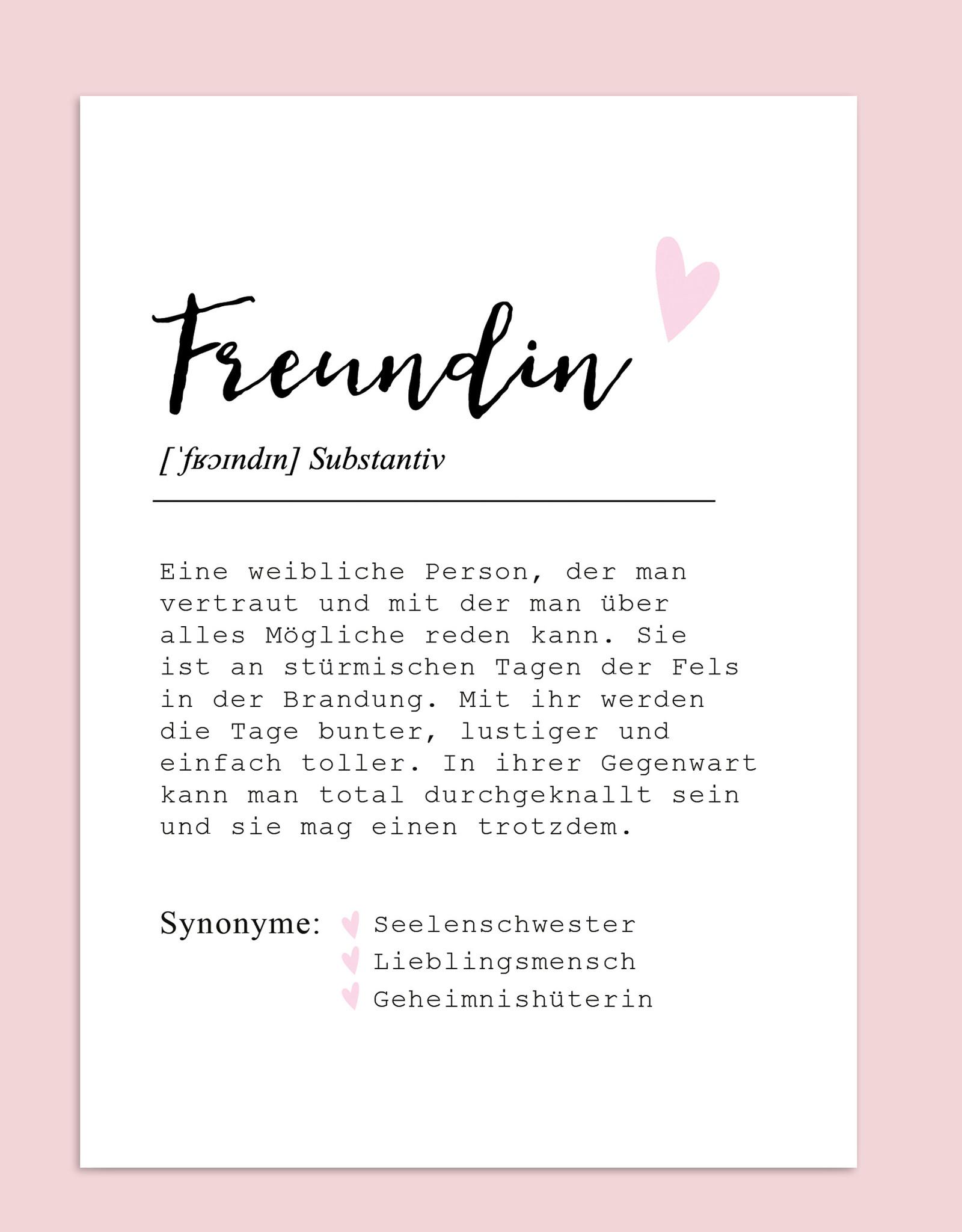 Postkarte FREUNDIN Definition inkl. Briefumschlag Beste Freundin Geschenk