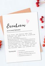 Postkarte Definition ERZIEHERIN Definition inkl. Briefumschlag Erzieherin Geschenk Kindergarten Abschied