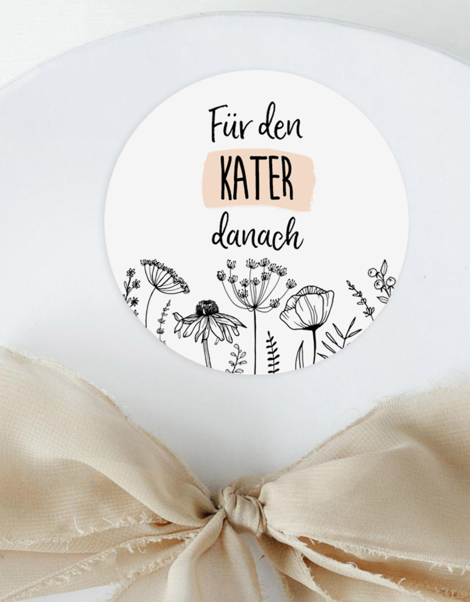 """50 Sticker """"Kür den Kater danach"""" FLOWERS  Hochzeit Gastgeschenk Aufkleber Hangover Kit"""
