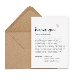Postkarte TRAUZEUGIN Definition inkl. Briefumschlag
