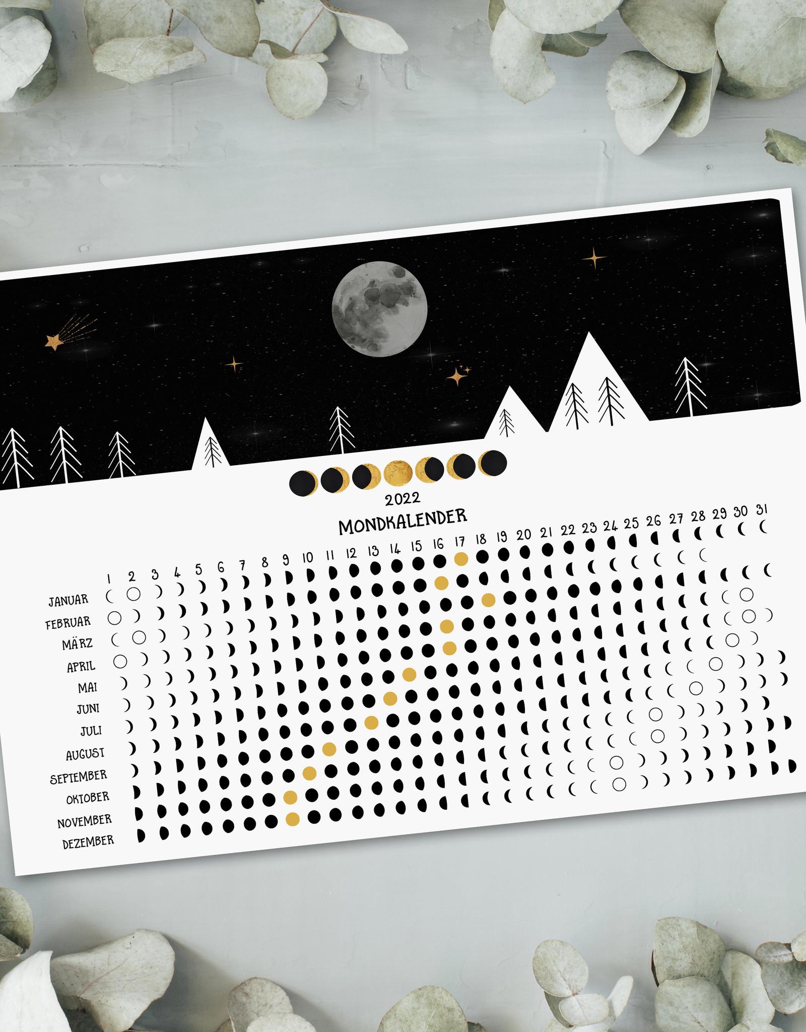 Postkarte Mondkalender 2022 DIN A6 Grußkarte Mond Kalender Postkarte