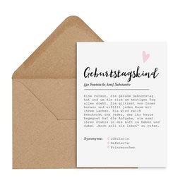 Postkarte GEBURTSTAGSKIND weiblich DEFINITION inkl. Briefumschlag