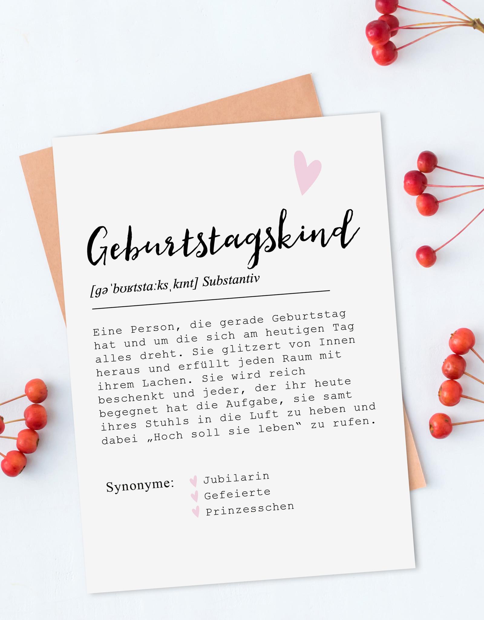 Postkarte GEBURTSTAGSKIND weiblich DEFINITION inkl. Briefumschlag Geburtstagskarte Postkarte Geburtstag Glückwunschkarte