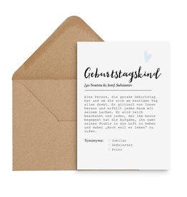 Postkarte GEBURTSTAGSKIND männlich DEFINITION inkl. Briefumschlag