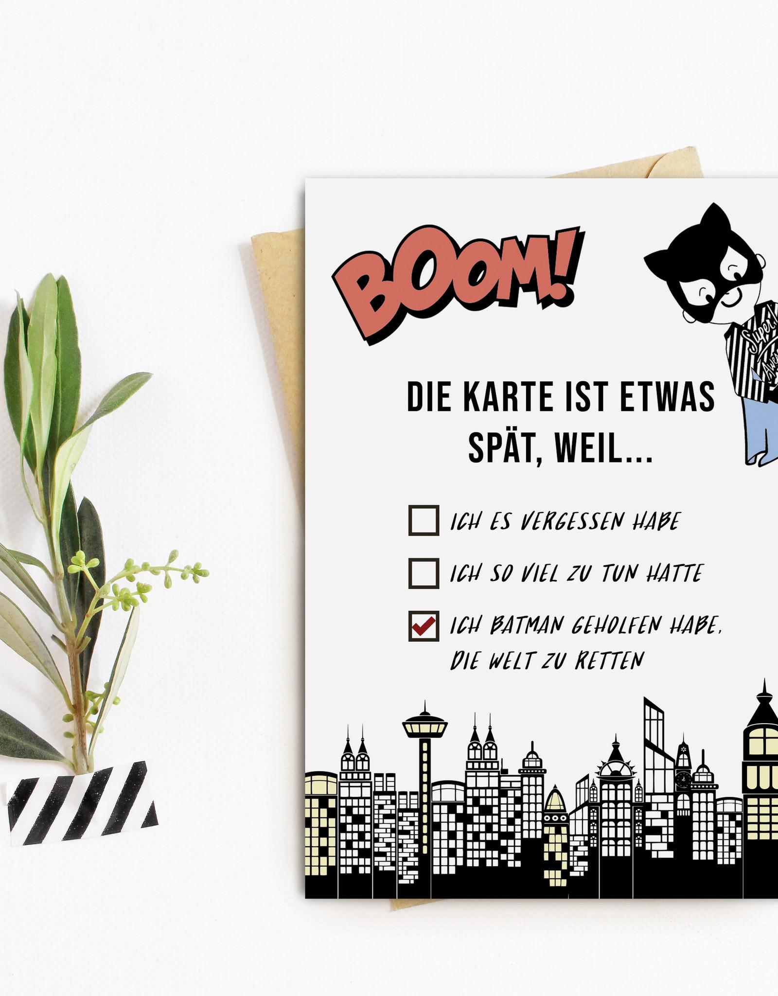 Postkarte BATMAN Geburtstag nachträglich Es tut mir leid Karte, Verzeih mir Karte, Entschuldigung Geschenk, Geschenk tut mir leid