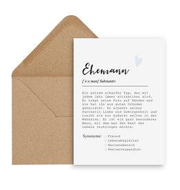 Postkarte EHEMANN Definition inkl. Briefumschlag