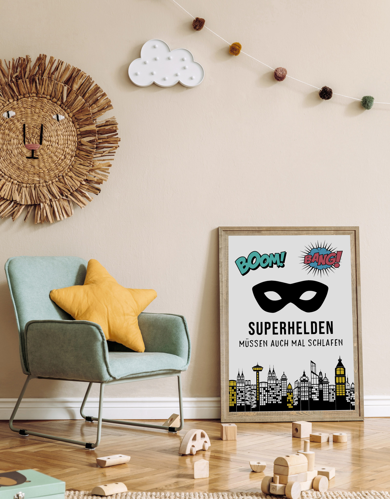 Poster SUPERHELDEN müssen auch mal schlafen Kinderzimmer Poster DIN A3