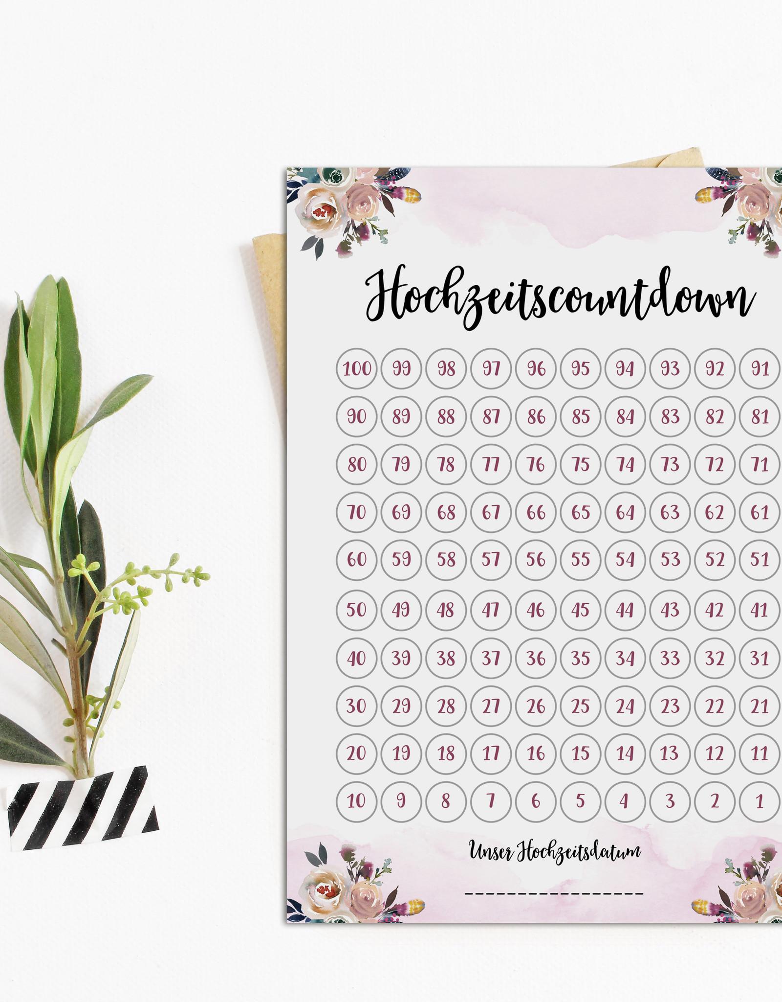 Postkarte Hochzeitscountdown BOHO Countdown Hochzeit Postkarte Save the date