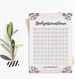 Postkarte Hochzeitscountdown BOHO