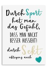 Postkarte NACKT besser aussehen SEKT Postkarte Motivationskarte lustig Sprüche Postkarte Sekt Geschenk Mädelsabend