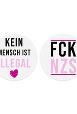 Aufkleber Set 25x FCK NZS Sticker und 25 x Kein Mensch ist illegal Sticker