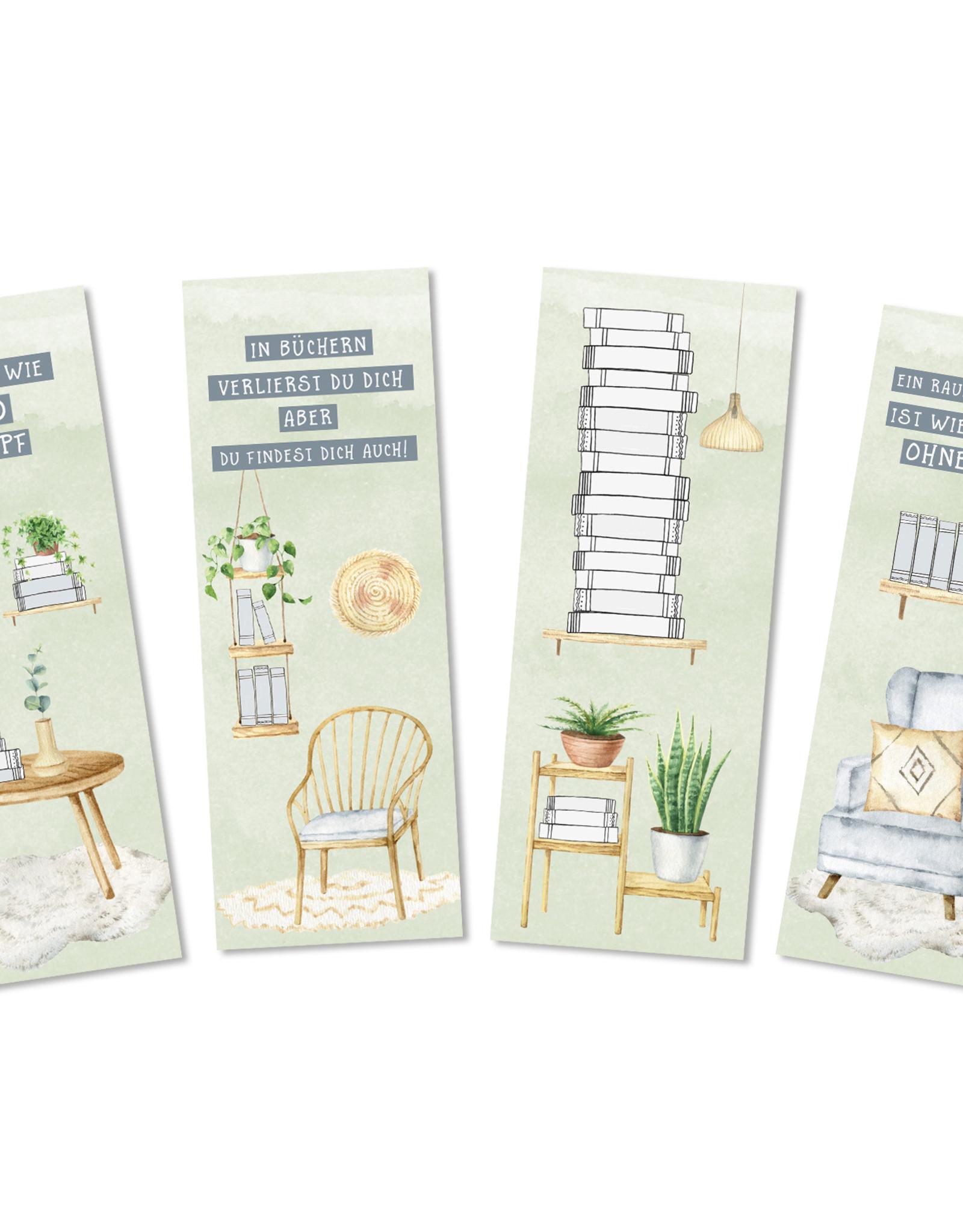 Lesezeichen Set BÜCHER, 4 Lesezeichen Geschenk Freundin, Geschenk Frau, Lesezeichen Papier
