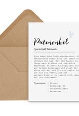 Postkarte PATENONKEL Definition inkl. Briefumschlag Taufe Geschenk Paten