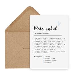 Postkarte PATENONKEL Definition inkl. Briefumschlag
