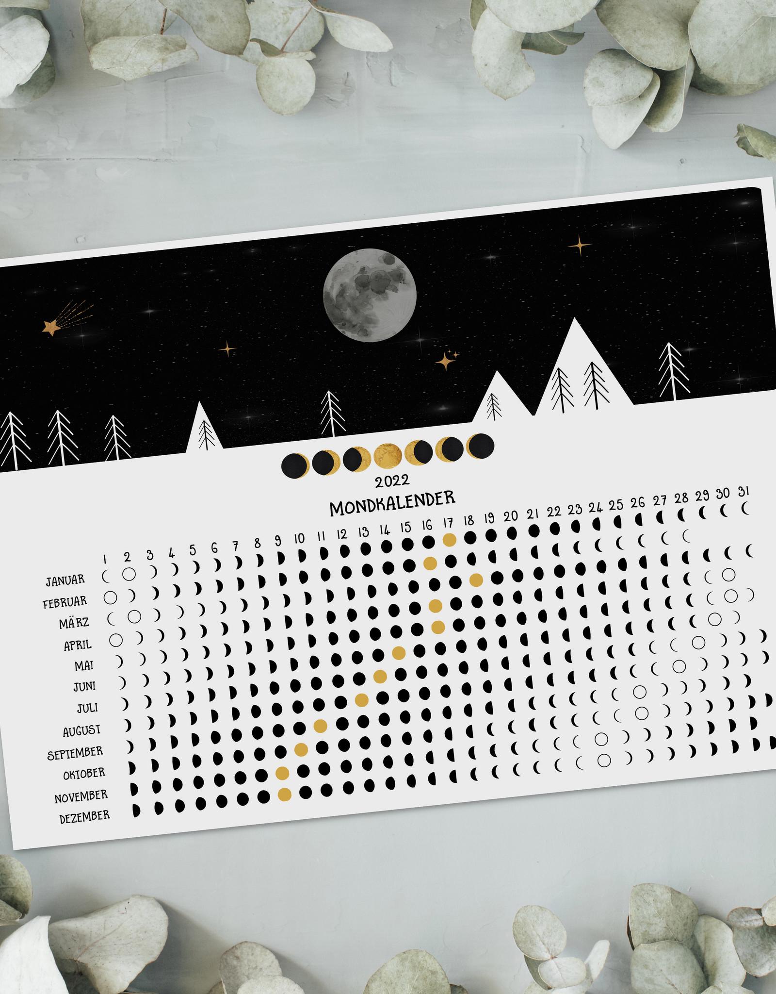 Mondkalender 2022 Poster Mondkalender DIN A4 Kalender 2022