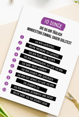 Postkarte 10 Dinge SELBSTLIEBE Postkarte Freundschaft Motivation