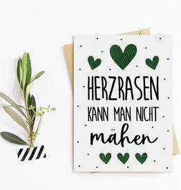 Postkarte HERZRASEN kann man nicht mähen