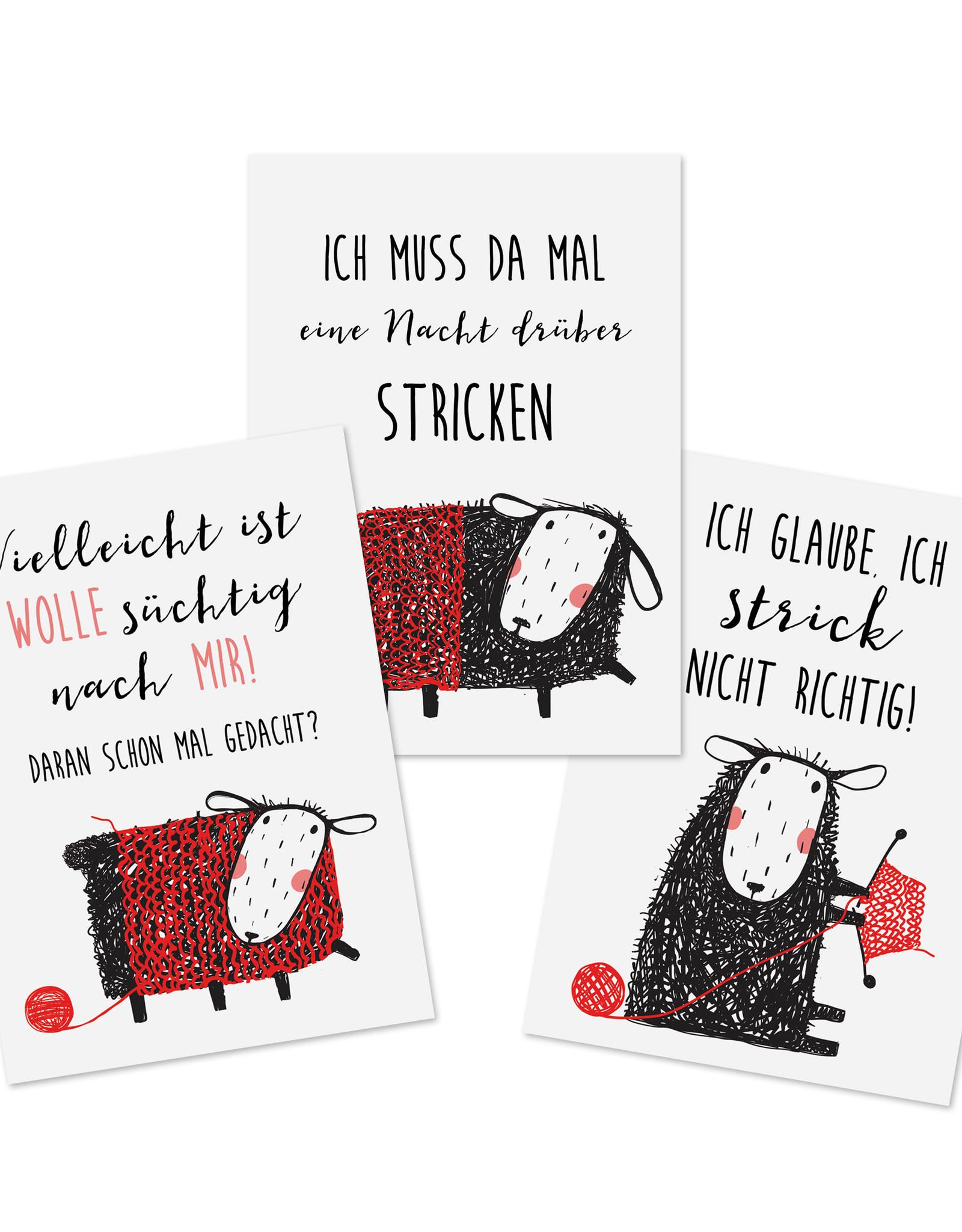 Postkarten STRICKEN Set 3-teilig, Stricken Karten Postkarten Wolle