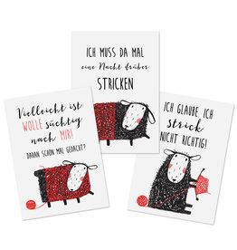 Postkarten STRICKEN Set 3-teilig