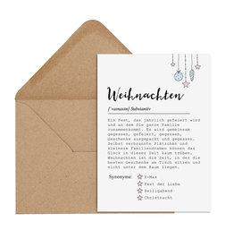 Postkarte WEIHNACHTEN Definition inkl. Briefumschlag