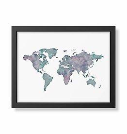 Poster Weltkarte Aquarell