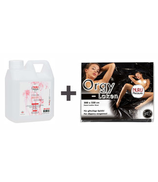 Nuru Massage Gels van Nuru Nederland Nuru gel classic 1000ml - Plus Bed lack sheet Black