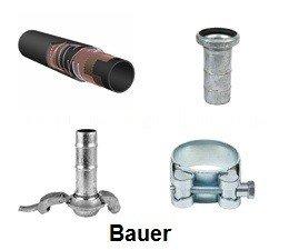 """KO111033 - Slangenset 4"""" Zuig / persslang - vuil water Ohms rubber 5mtr. 4"""" Bauer mandeel - 4"""" Bauer vrouwdeel"""