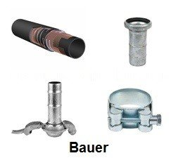 """KO111077 - Slangenset 3"""" Zuig / pers - droge stoffen. 4mtr. 3"""" Bauer mandeel - 3"""" Bauer vrouwdeel"""