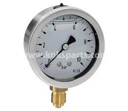 """KO101523 - Manometer. Afleesbereik: -1/1,5 Bar. Aansluiting 1/4"""" onder aansluiting"""