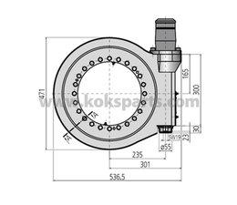 KO102803 - Draaikranslager met wormaandrijving t.b.v. Kolkenzuiger