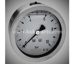 "KO101635 - Manometer 0/10 bar. 1/2"" achteraansluiting. 100mm."