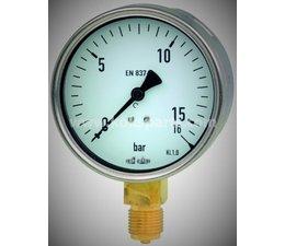 """KO100569 - Manometer. Lesereichweite: 0/16 Bar. Anschluss: 1/8"""". Unterer Anschluss."""