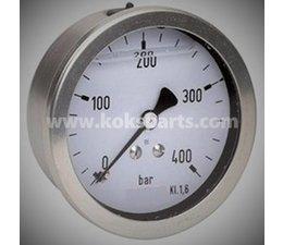 KO101881 - Manometer 0/400 bar. Onder aansluiting, 63mm.