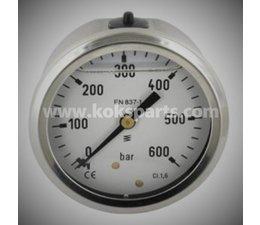 KO107795 - Manometer 0/600 bar. Lesereichweite: 0/600 Bar. Hinterr Anschluss. Durchmesser: 63mm.