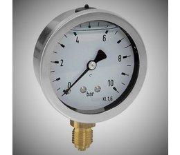 """KO100038 - Manometer. Afleesbereik: -1/0 bar. Aansluiting: 1/4"""" onder aansluiting"""
