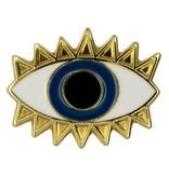 Godert.Me Godert.me Lucky eye pin goud blauw