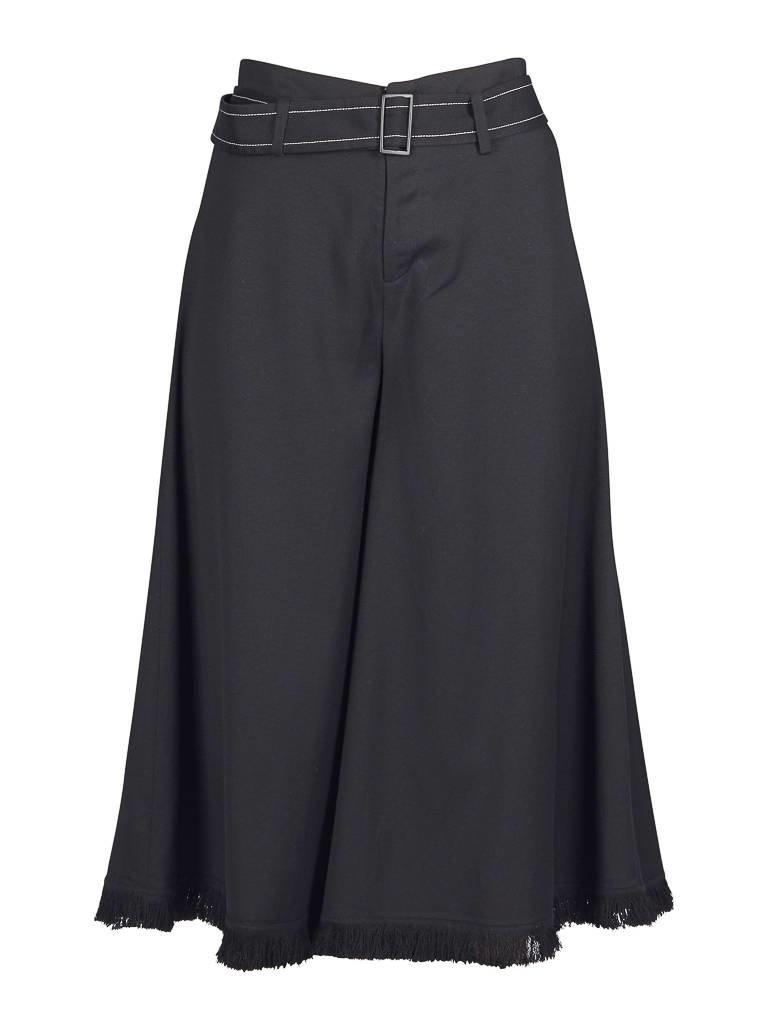 Áeron Áeron Cropped flair broek met riem zwart