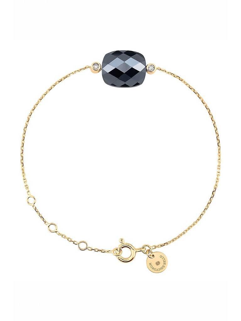Morganne Bello Morganne Bello armband met hematiet steen diamant