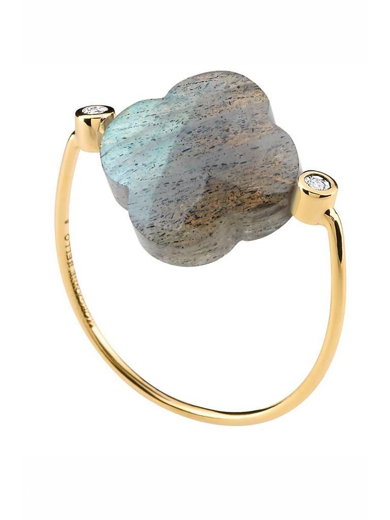 Morganne Bello Morganne Bello ring labradoriet steen diamant maat 54