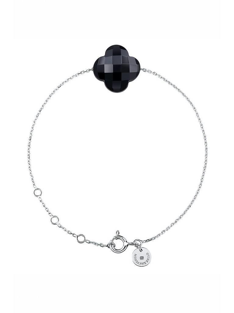 Morganne Bello Morganne Bello armband met onyx steen witgoud