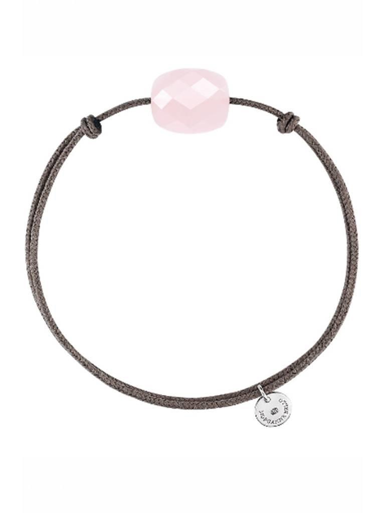 Morganne Bello Morganne Bello koord armband met roze kwarts